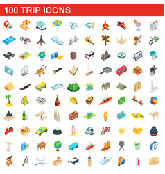 100 trip icons set isometric 3d style vector