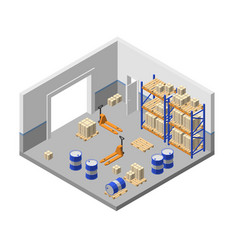 3d isometric storage factory warehouse vector image
