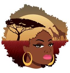 african girl landscape vector image