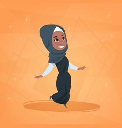 Arab girl small cartoon character muslim female vector