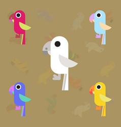 Baby parrots set vector