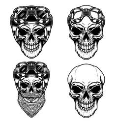 Biker skulls in racer helmet for logo label sign vector