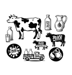 Black milk cow symbol vector