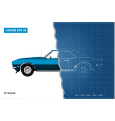 blueprint of retro car american vector image