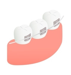 Braces on teeth icon isometric 3d style vector