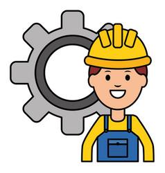 builder worker with helmet and gear vector image