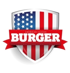 Burger vintage shield with USA flag vector image