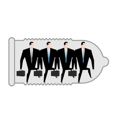 business protection businessman in condom barrier vector image