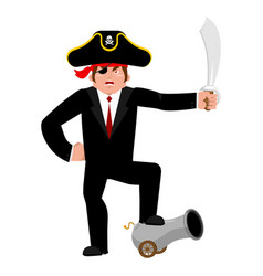 businessman pirate manager of filibuster business vector image