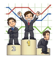 Businessmen are standing on pedestal 4 vector