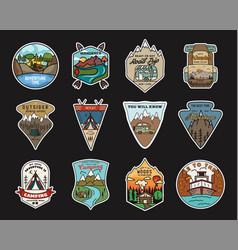 camping adventure stickers design bundle travel vector image