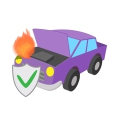 Car fired vehicle insurance icon cartoon style vector