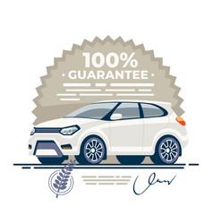 Car guarantee deal signed vector
