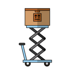 cart lifting with box carton delivery icon vector image