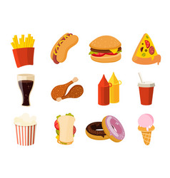 Cartoon fast food burger drink chicken tacos vector