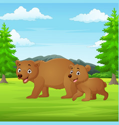 cartoon mother and babear in jungle vector image