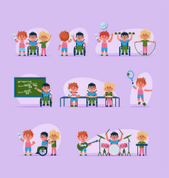 character disabled children vector image