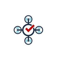 check drone logo icon design vector image