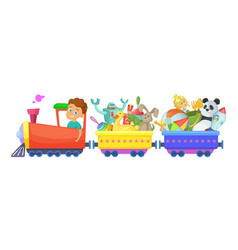 Childrens toys in train cartoon vector