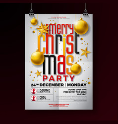 Christmas party flyer with gold star vector