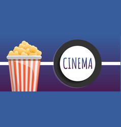 cinema popcorn bucket concept banner cartoon vector image