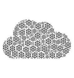 cloud figure of boat steering wheel icons vector image