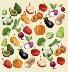 color background with pattern vegetables and vector image