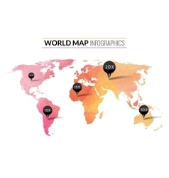 Colorful watercolor world map infographics vector image