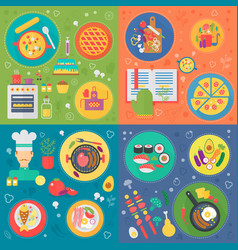 cooking square concepts set cooking process food vector image