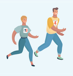 couple of man and woman running together jogging vector image