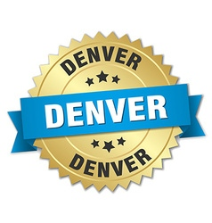 Denver round golden badge with blue ribbon vector