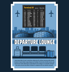 departure lounge airport terminal flight schedule vector image