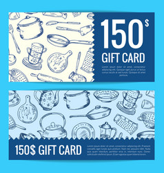 Discount voucher or gift card kitchen vector
