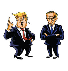 donald trump and vladimir putin cartoon vector image