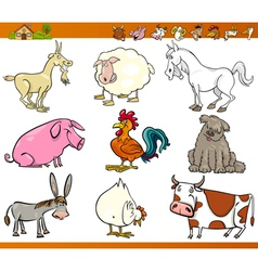 farm animals set cartoon vector image