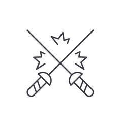 fencing line icon concept fencing linear vector image