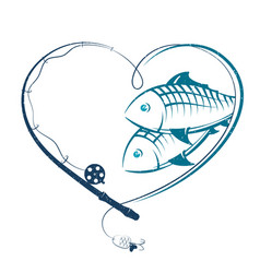 fishing rod in the form of heart and fish vector image