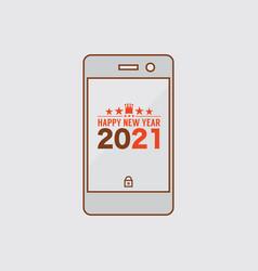 flat design smart phone celebrate 2021 new year vector image