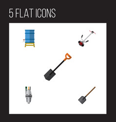 Flat icon dacha set of shovel grass-cutter spade vector