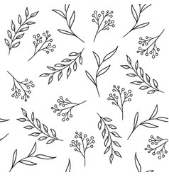 floral seamless pattern with plants and berries vector image