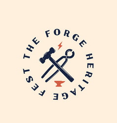 Forge festival abstract vintage sign vector