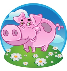 Funny pink pig on color background vector image