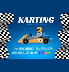 go kart race background poster karting race car vector image