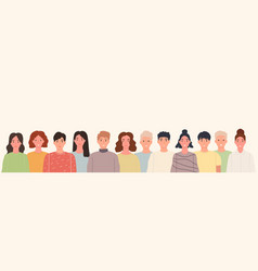 group smiling people standing together in line vector image