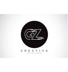 gz modern leter logo design with black and white vector image