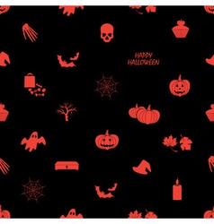 halloween icons dark seamless pattern eps10 vector image