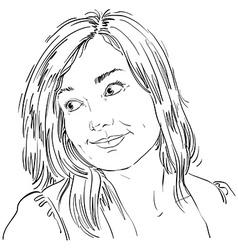 Hand-drawn portrait of white-skin romantic woman vector image