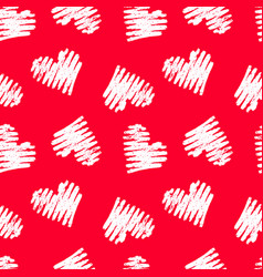 hand drawn seamless red heart pattern valentines vector image
