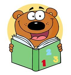 Happy Bear Reading A Book vector