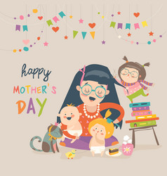 happy mother with her children vector image